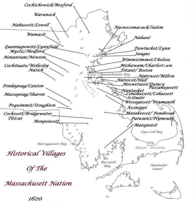 Historical Villages of the Massachusett Nation - 1620